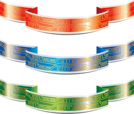 Set of ribbon with a pattern of the PCB Vector