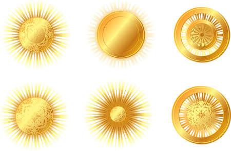 set of bright golden sun Stock Vector - 17934676