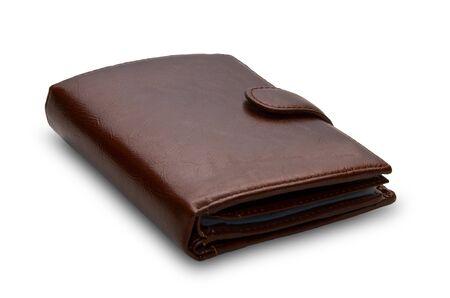 billfold: brown purse on white background