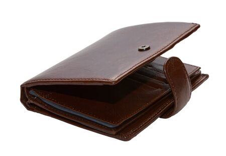 Open leather wallet on a white background Stock Photo - 17934690