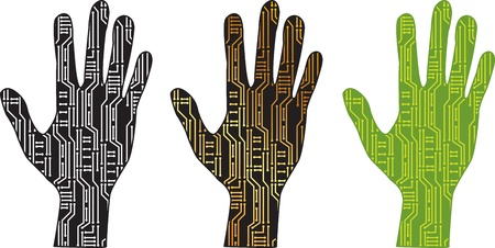 pcb: set of silhouettes of hands with PCB Illustration