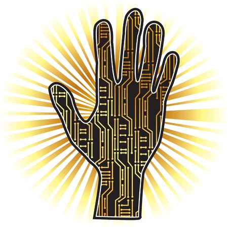 silhouette of hands with PCB Stock Vector - 17934691