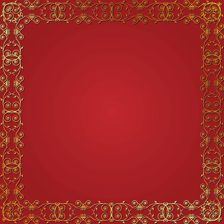Seamless gold floral frame on a red background Vector