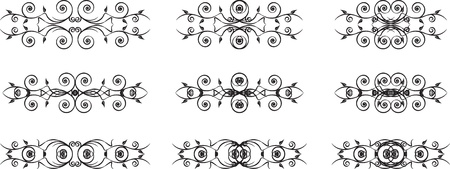 set of black floral vintage symbols Vector