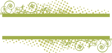 grunge floral banner with green leaves Vector