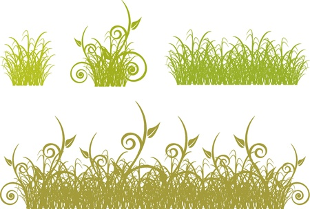 set of  borders of green grass and bushes Stock Vector - 18123997