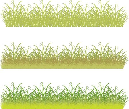 set of  borders of green grass and bushes Vector
