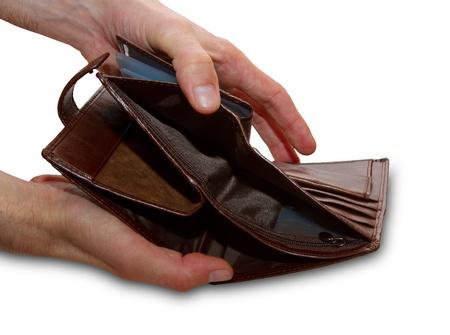 empty open wallet in the hands Stock Photo - 18173097