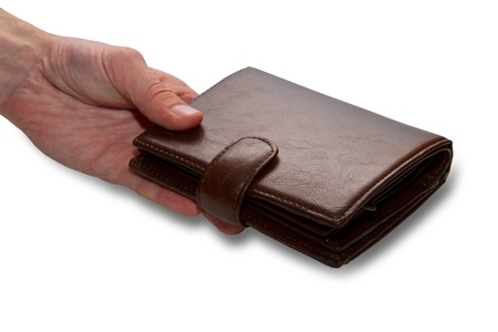 Hand holding out wallets Stock Photo - 18173095