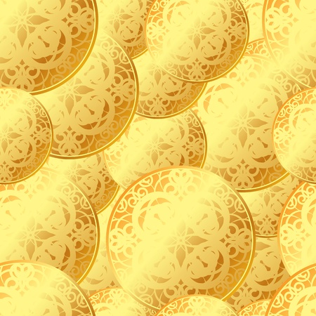 seamless texture of gold coins Stock Vector - 18274369