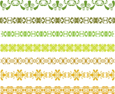 set of green borders with leaves Stock Vector - 18349315
