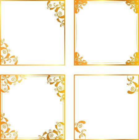 Set of gold floral frames Vector