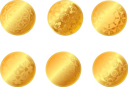 set of gold coins or medals Vector