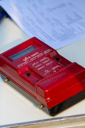 radiation dosimeter and data sheets photo