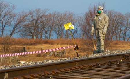 BOLSOI KAMEN, RUSSIA, - APRIL 2, 2013: Military exercises on emergency response in case of accidents at radiation-hazardous objects, Bolsoi Kamen, Russia, April 2, 2013. The contaminated area. Stock Photo - 18928515