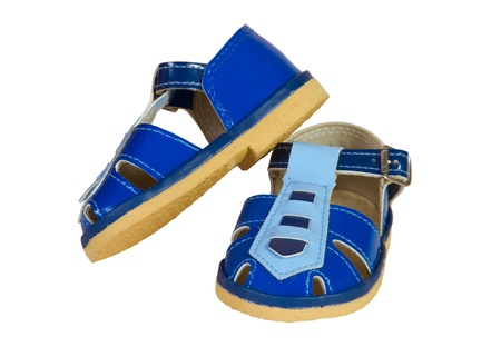 blue children's sandals on a white background Stock Photo - 19289554