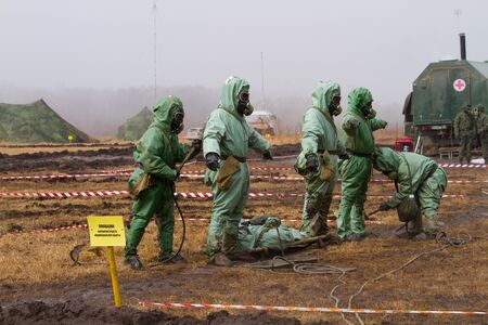 BOLSOI KAMEN, RUSSIA, - APRIL 3, 2013: Military exercises on emergency response in case of accidents at radiation-hazardous objects, Bolsoi Kamen, Russia, April 3, 2013. The contaminated area. Editoriali
