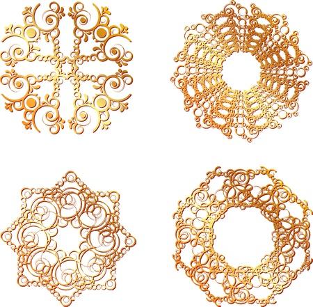 set of gold lace symbols
