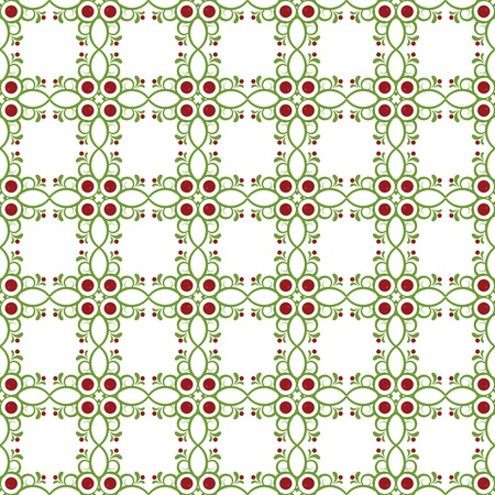 Seamless green background with pattern and berries Vector