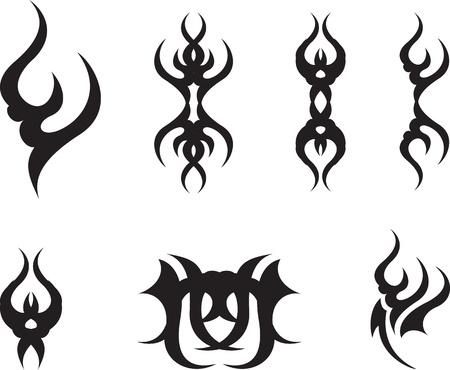 Set of black abstract symbols Vector