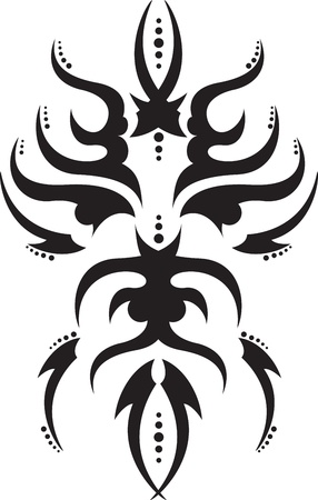 tattoo graphics ethnic masks with blades Vector
