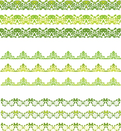 set of green seamless border Illustration