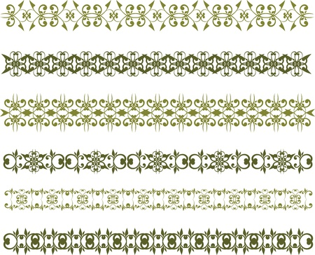 set of green floral vintage border Vector