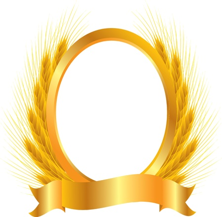 copy spase: gold vignette with ears of wheat Illustration