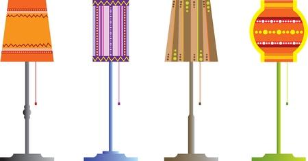 juego de lámparas de pie de color Ilustración de vector
