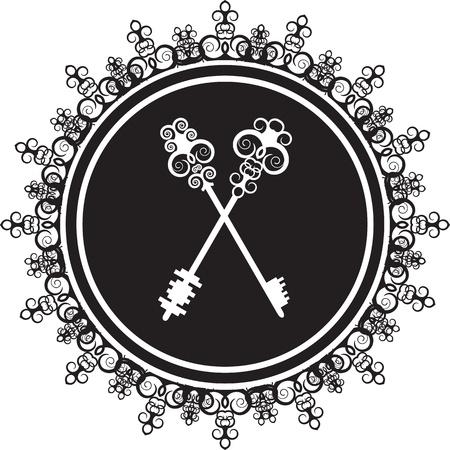 silhouette of a vintage emblem with keys Çizim