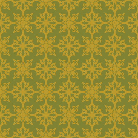 Yellow seamless pattern with ornament Vector