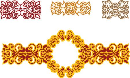 set of floral ethnic patterns