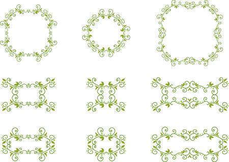 Set of green floral frames Illustration