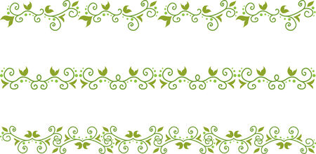 Set of green floral border Vettoriali