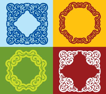 etnic: Set of colored vintage frame