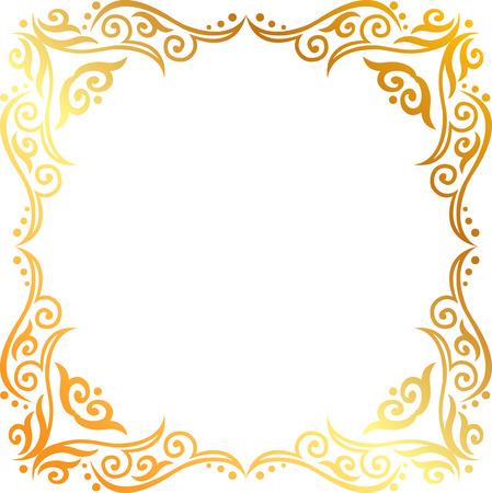 황금 꽃 장식 프레임 일러스트