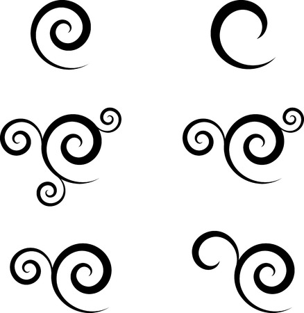 Set of abstract swirl symbols