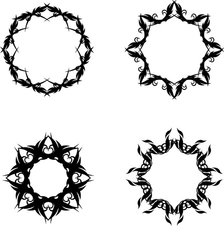 set of abstract star frames Vector