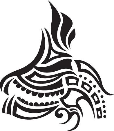 Abstract pattern. Ethnic black tattoo