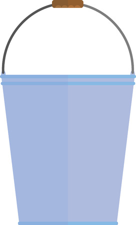 constructional: flat image blue bucket with handle