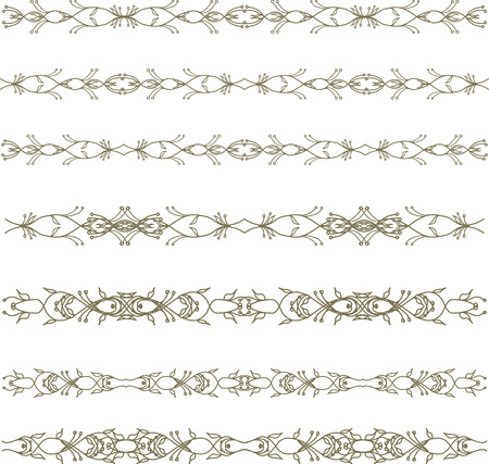 Set of abstract floral border Vector