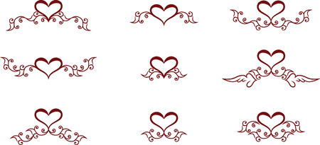Set of floral heart symbols Vector