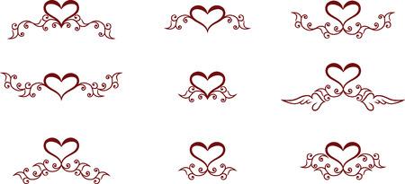 Set of floral heart symbols Vector