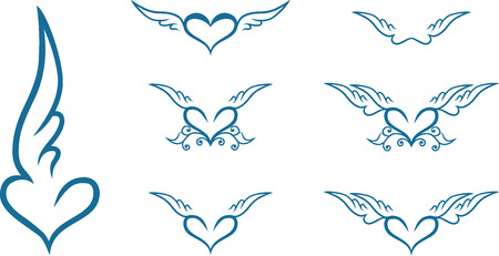 heart wings: Set of vintage heart with wings