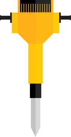 presslufthammer: Flach Bild von gelben Presslufthammer Illustration