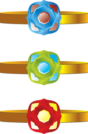 gold rings set with precious stones Vector