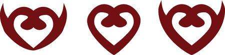 Set of abstract heart symbols Vector