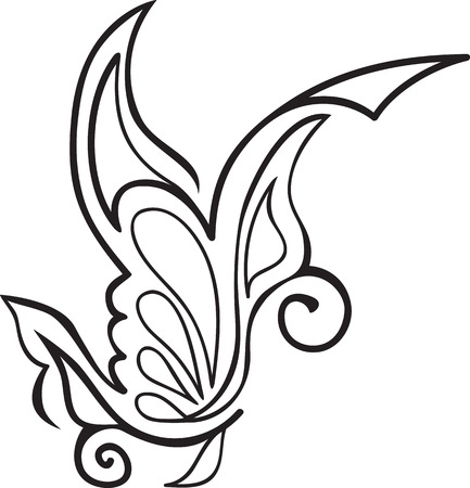 abstract floral tattoo of flowing lines Vector