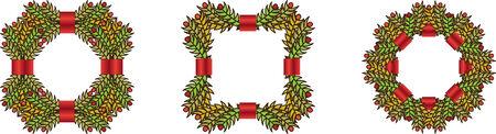 coronas de navidad: Conjunto de verdes guirnaldas de Navidad
