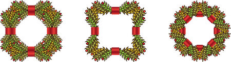 christmas wreaths: Set of green christmas wreaths